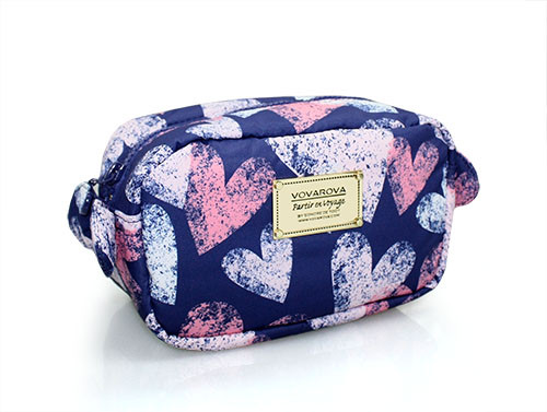 Travel Cosmetics Pouch With Ribbon - Dancing Hearts - Blue