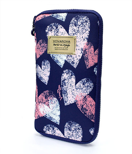Travel Wallet - Dancing Hearts - Blue