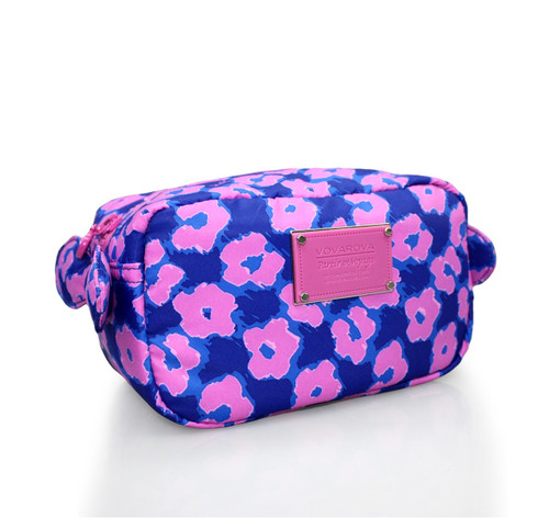 Travel Cosmetics Pouch With Ribbon - Leopard Illusion - Pink