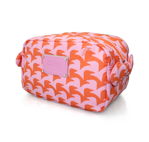 Travel Cosmetics Pouch With Ribbon - Checker in Vogue - Pink