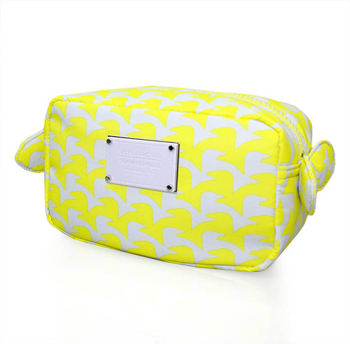 Travel Cosmetics Pouch With Ribbon - Checker in Vogue - Yellow