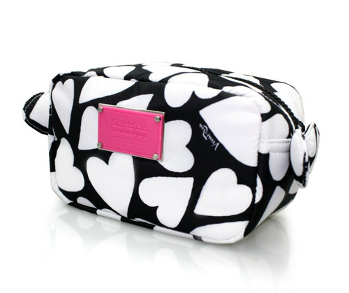 Travel Cosmetics Pouch With Ribbon - Endless Love - Black
