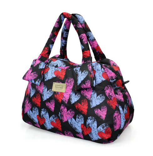 Ribbon Day Bag - Dancing Hearts - Black
