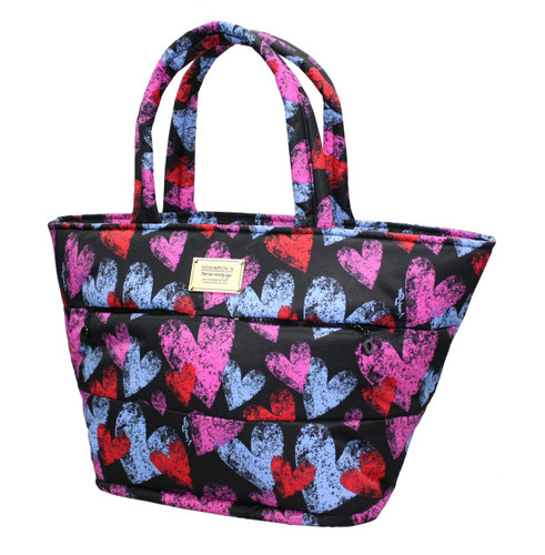 Padded Tote - Dancing Hearts - Black