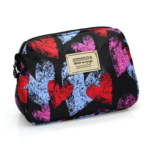 Daily Makeup Pouch - Dancing Hearts - Black