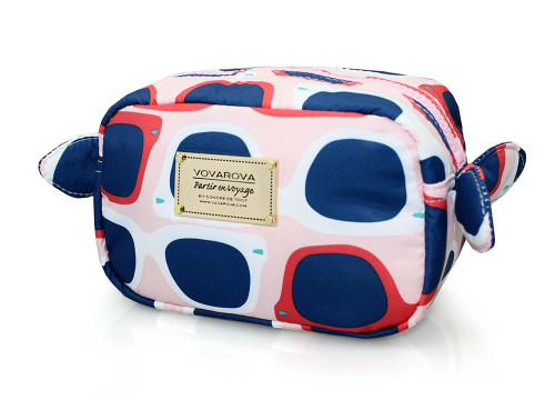 Travel Cosmetics Pouch With Ribbon - Sunglasses A La Mode