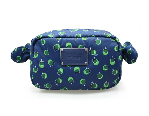 Travel Cosmetics Pouch With Ribbon - Dotty Apple - Green