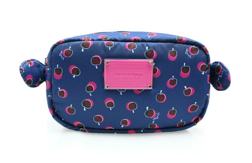 Travel Cosmetics Pouch With Ribbon - Dotty Apple - Pink