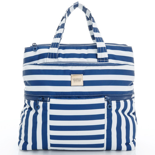 Convertible Satchel/Backpack - STRIPE - NAVY WHITE