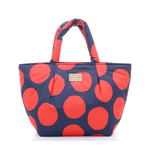 Pleat Tote - POP DOT Navy Red