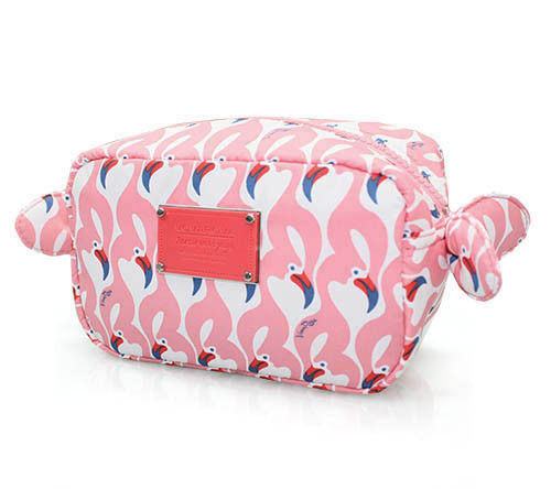 Travel Cosmetics Pouch With Ribbon - FLAMINGO