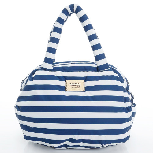 3-way Shoulder Tote - STRIPE Navy White