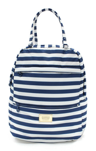 Double Handle Backpack - STRIPE Navy White
