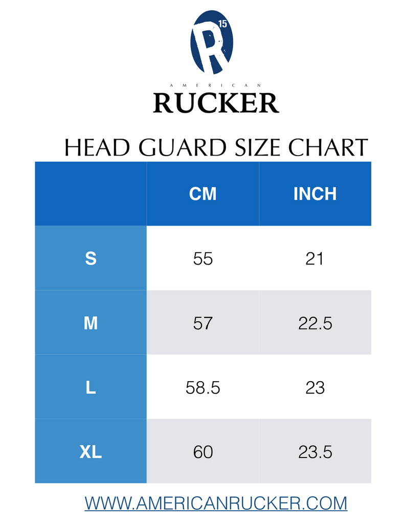 American Rucker Head Guard Size Chart - Scrum Cap - Headguard - Size Chart