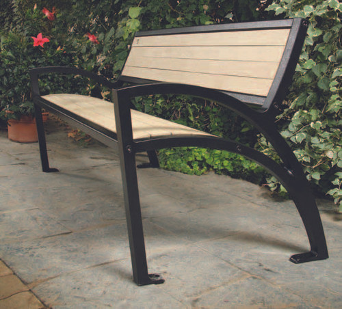 Bench shown with Black Frame and Beige Slats