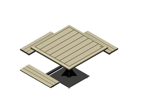 Square Public Place Picnic Table - Single Support - Wheelchair Accessible