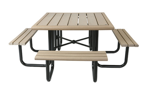 "6-1/2"" Public Place Square Picnic Table - Bullnose Profile"