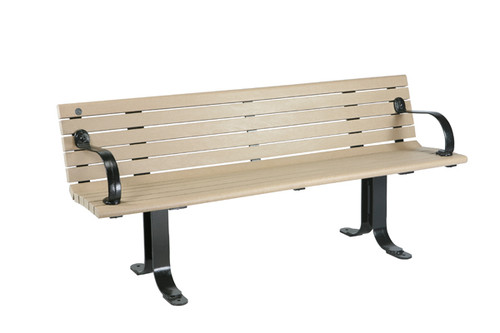 Nicolet Bench with Backrest (and Flat Steel Legs)
