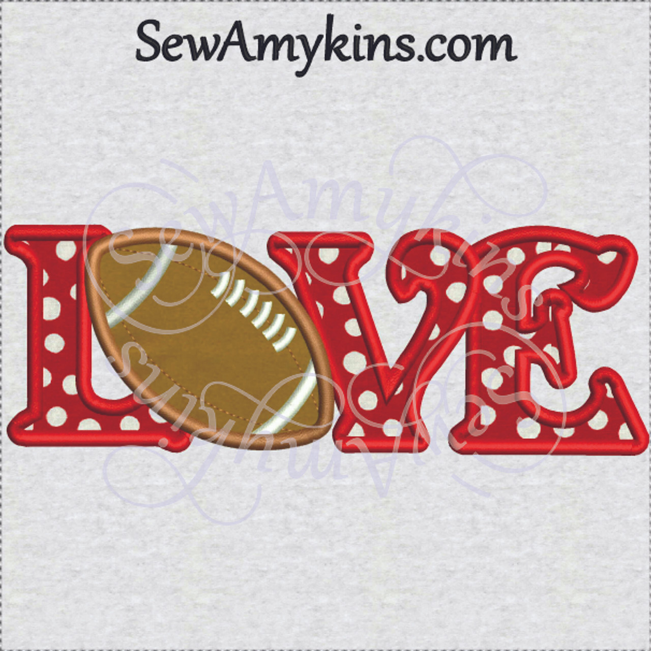 Football LOVE letters applique machine embroidery digitized design 2 ...