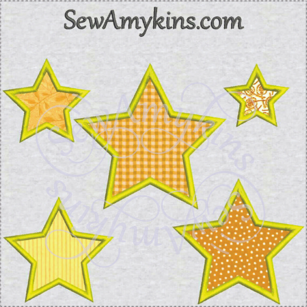 Star Applique Embroidery Designs Digitized Set Of 5 Stars Shape