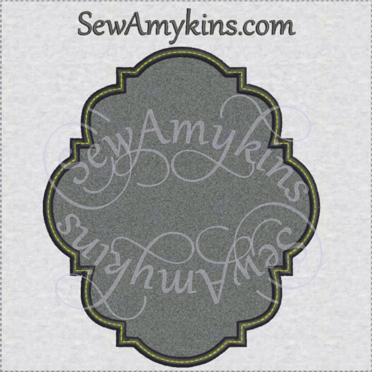 Fancy frame border 21 applique embroidery design digitized set of 4