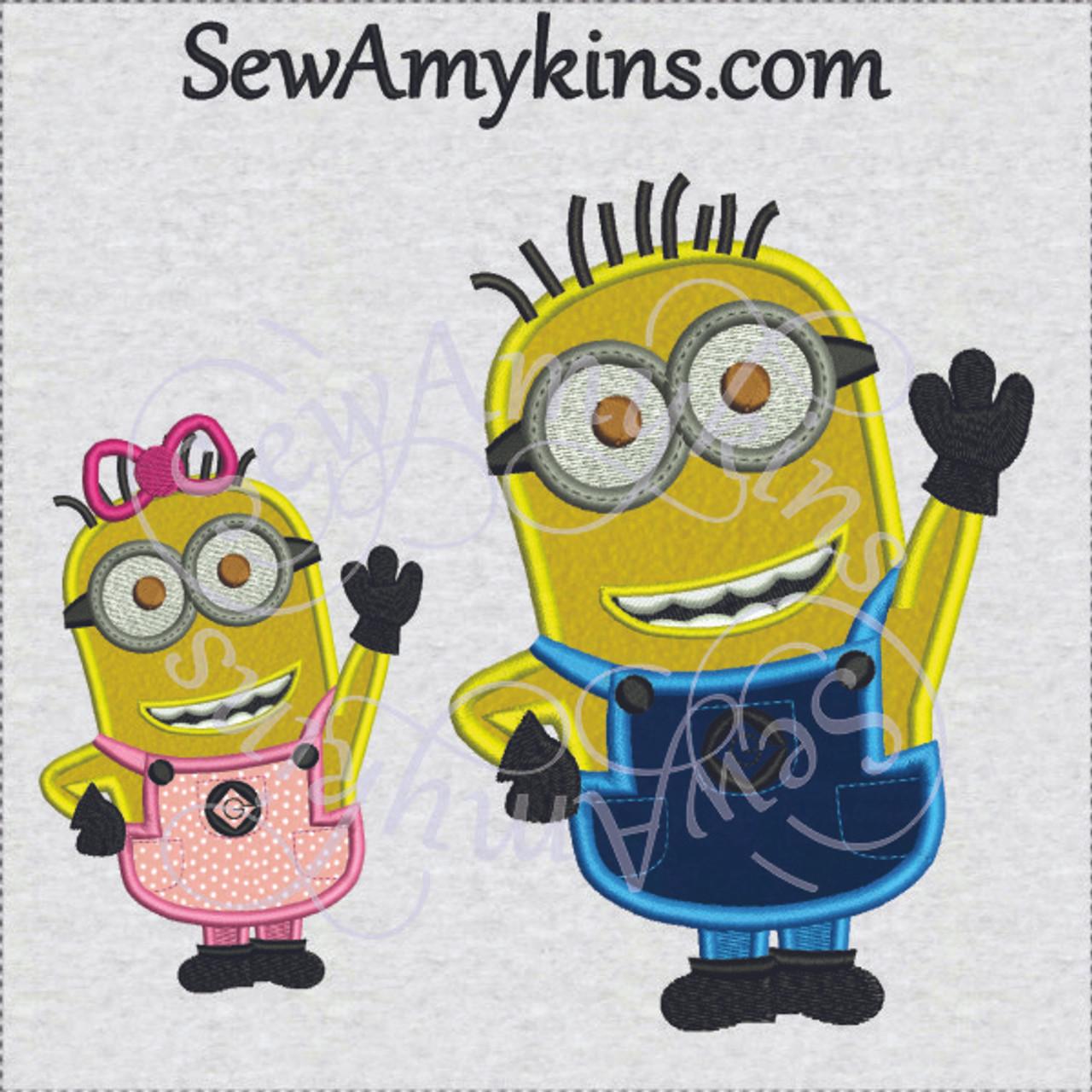 Minion Girl Or Boy Applique Machine Embroidery Design 3 Sizes