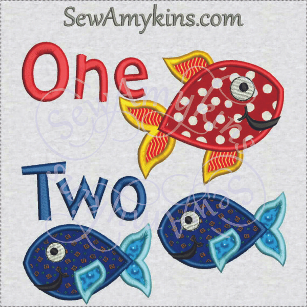 Fish One Two 1 2 Applique Machine Embroidery Design 3 Sizes Sewamykins