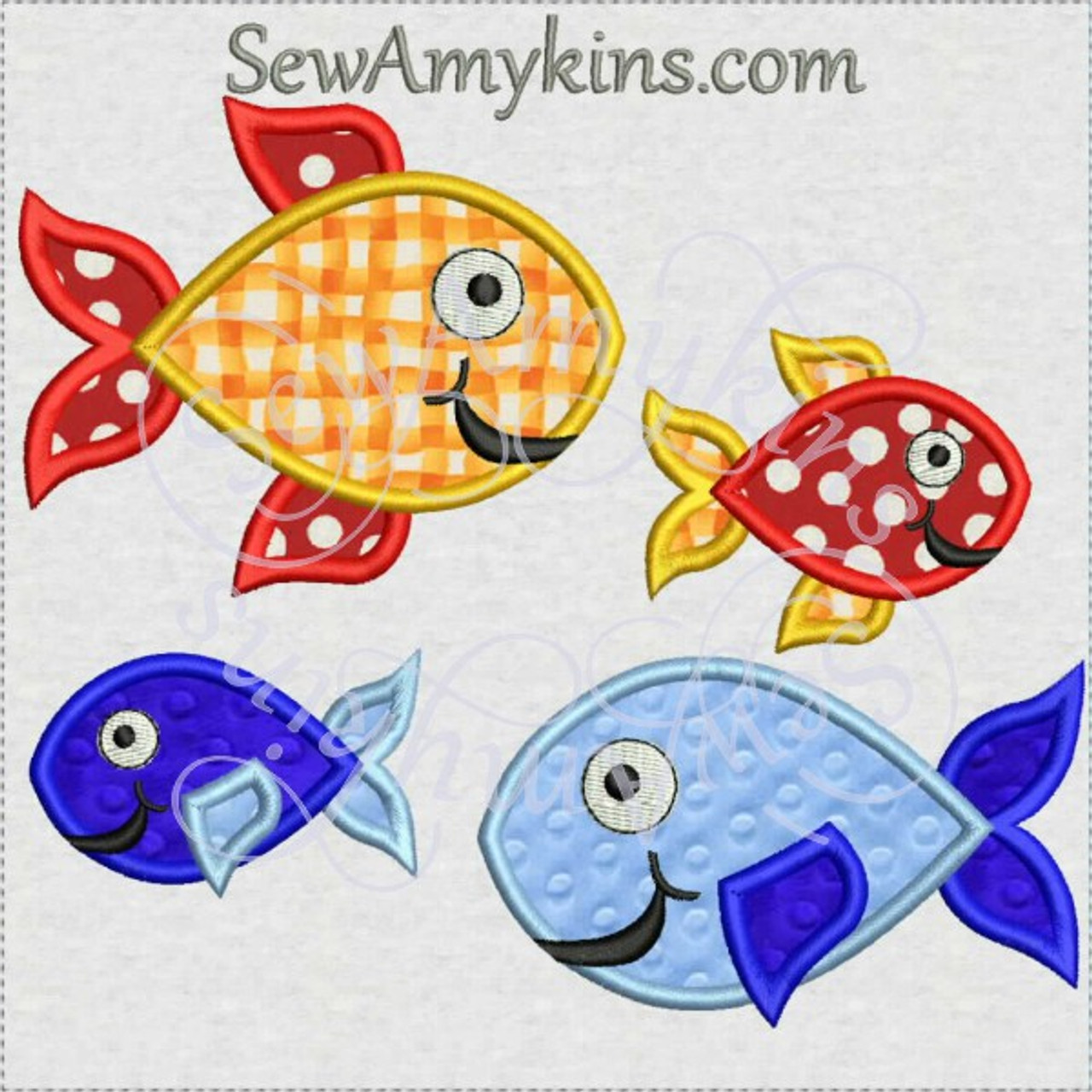 Fun Fish With Smiley Faces Applique Machine Embroidery Designs 2