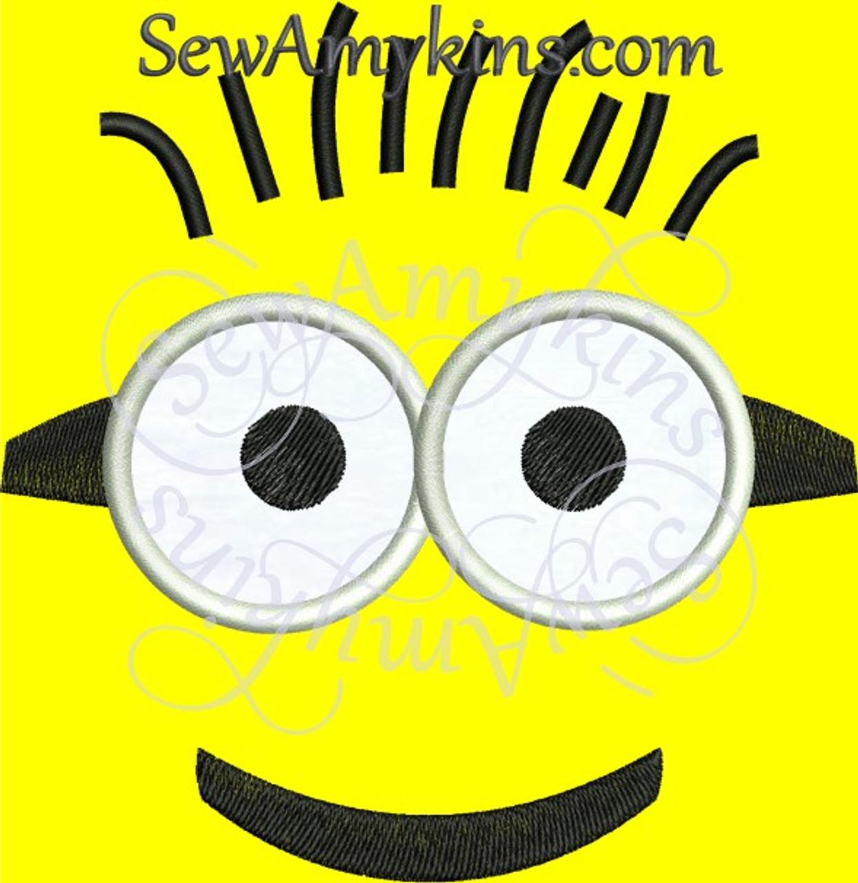Minion Face Applique Machine Embroidery Design 4 Sizes Despicable Me