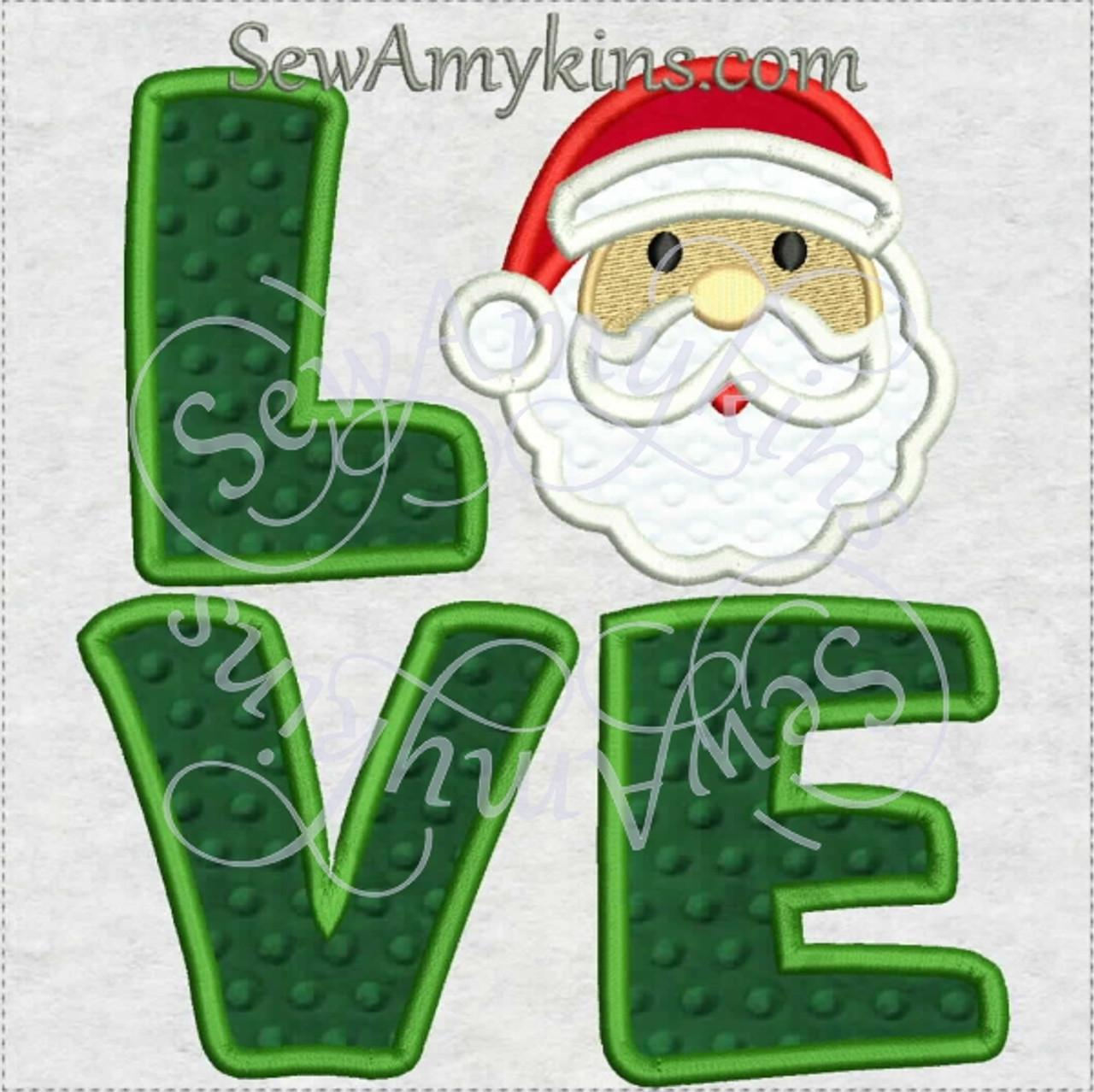 Love Santa face applique machine embroidery design letters 4 sizes ...