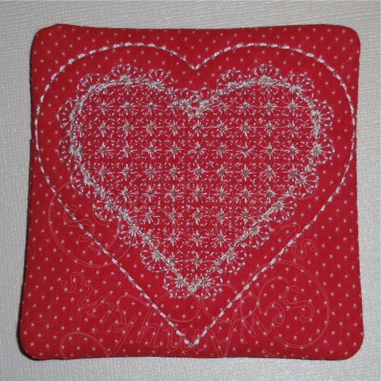Heart lace look Coaster applique in the hoop ITH - SewAmykins