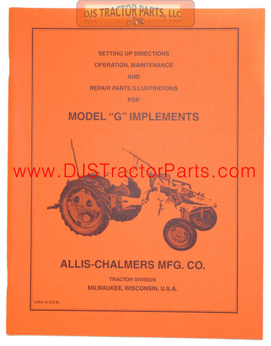 Allis Chalmers G IMPLEMENTS - SETUP, MAINTENANCE & REPAIR MANUAL - MAN093D