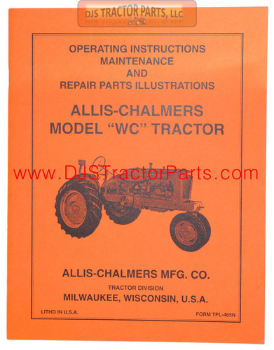 Allis Chalmers WC OPERATORS MANUAL - MAN002D
