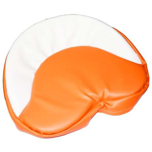 Orange and White Tractor Seat Pad 19""