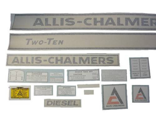 Allis Chalmers 210 Two-Ten diesel (black on creme) VINYL CUT DECAL SET - DJS157