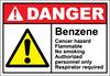 Danger Sign benzene cancer hazard flammable no smoking