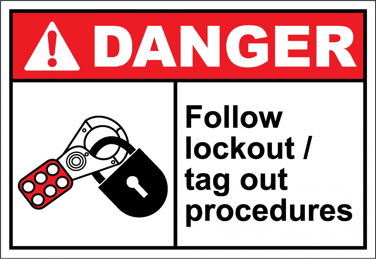 equipment locked out lockout tagout label pack of 10