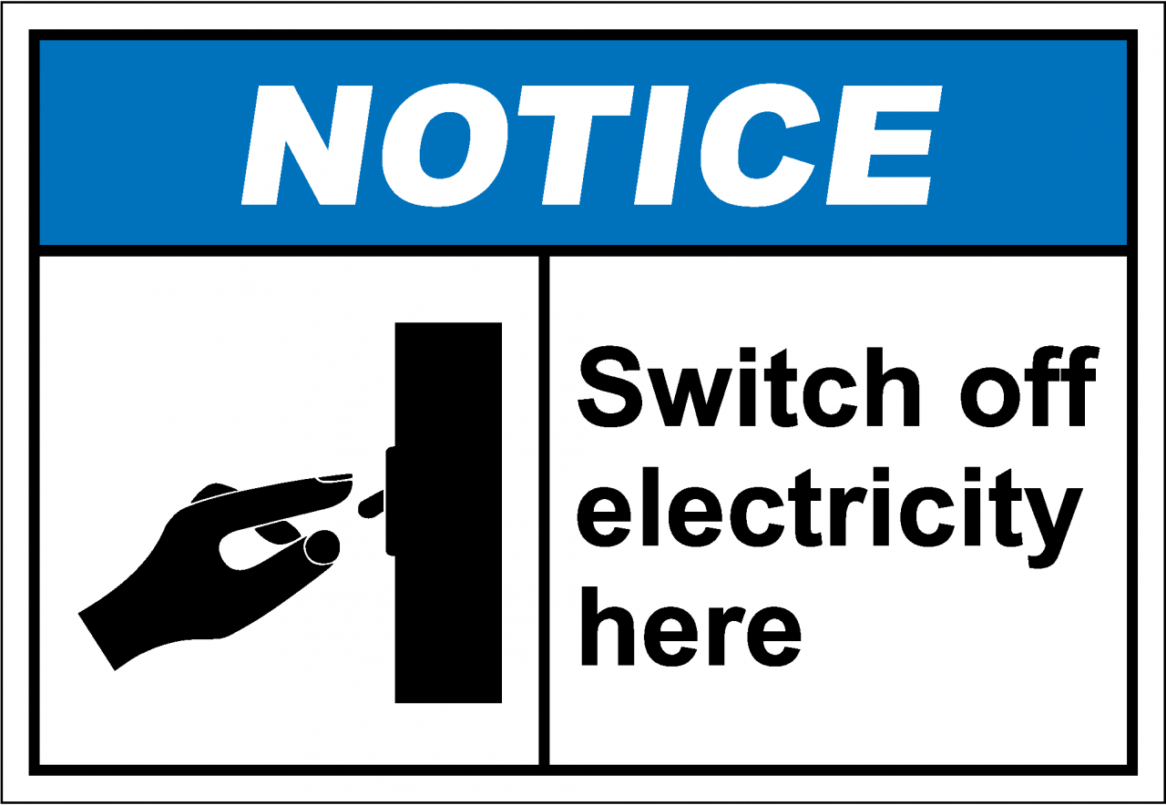 notiH212 - switch off electricity here - SafetyKore.com