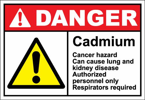 Danger Sign cadmium cancer hazard can cause lung cancer