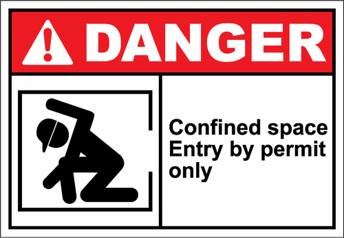 Danger Sign confined space entry by permit