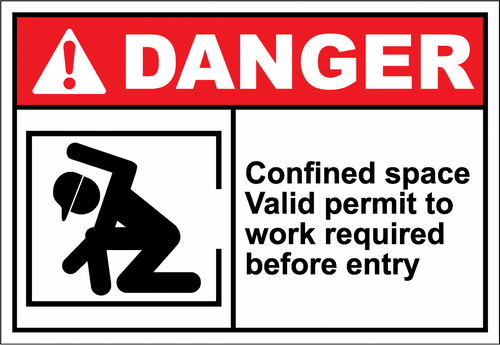 Danger Sign confined space valid permit to work