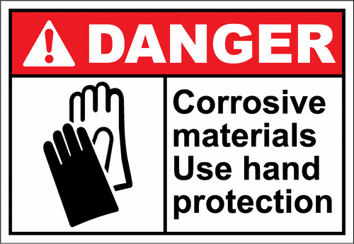 Danger Sign corrosive materials use hand protection