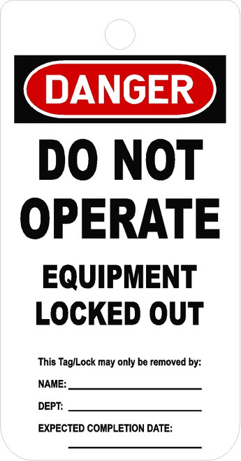 Do Not Operate Equipment LOCKED Tag