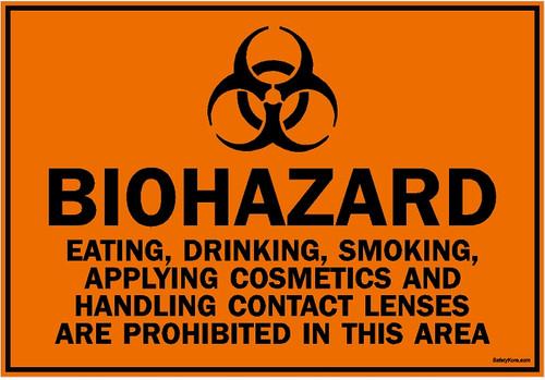Biohazard Eating Drinking Smoking Prohibited Sign
