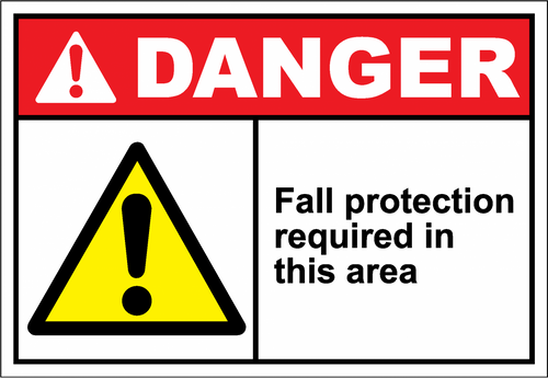 Danger Sign fall protection required in this area