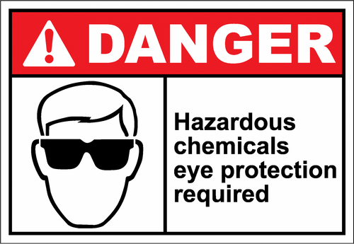Danger Sign hazardous chemicals eye protection