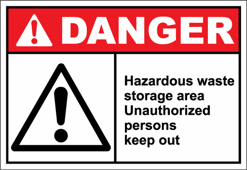 Danger Sign hazardous waste storage area