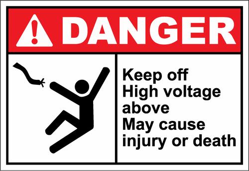 Danger Sign keep off high voltage above