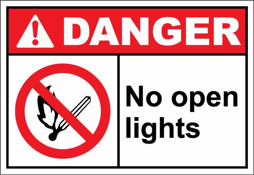 Danger Sign- no open lights