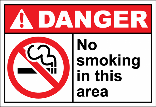 Danger Sign no smoking in this area